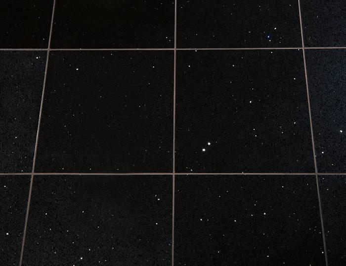 Black Quartz Mirror Fleck Tiles 400mm X 400mm X 12mm For